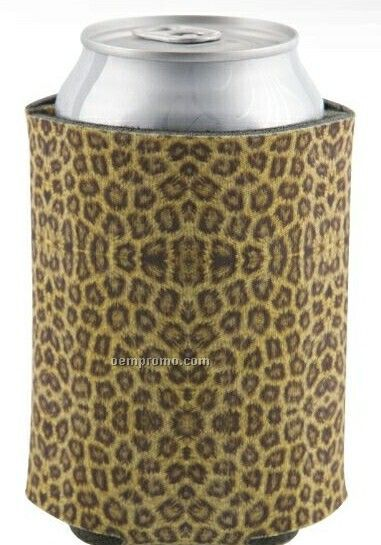 4 Color Process-dye Sublimation Neoprene Beverage Sock - Cheetah Pattern