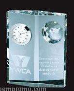 Optical Crystal Globe Clock Diamond Plaque