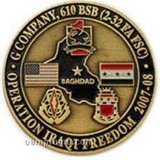 """1.75"""" Solid Brass Coin (1 Side W/ Color)"""