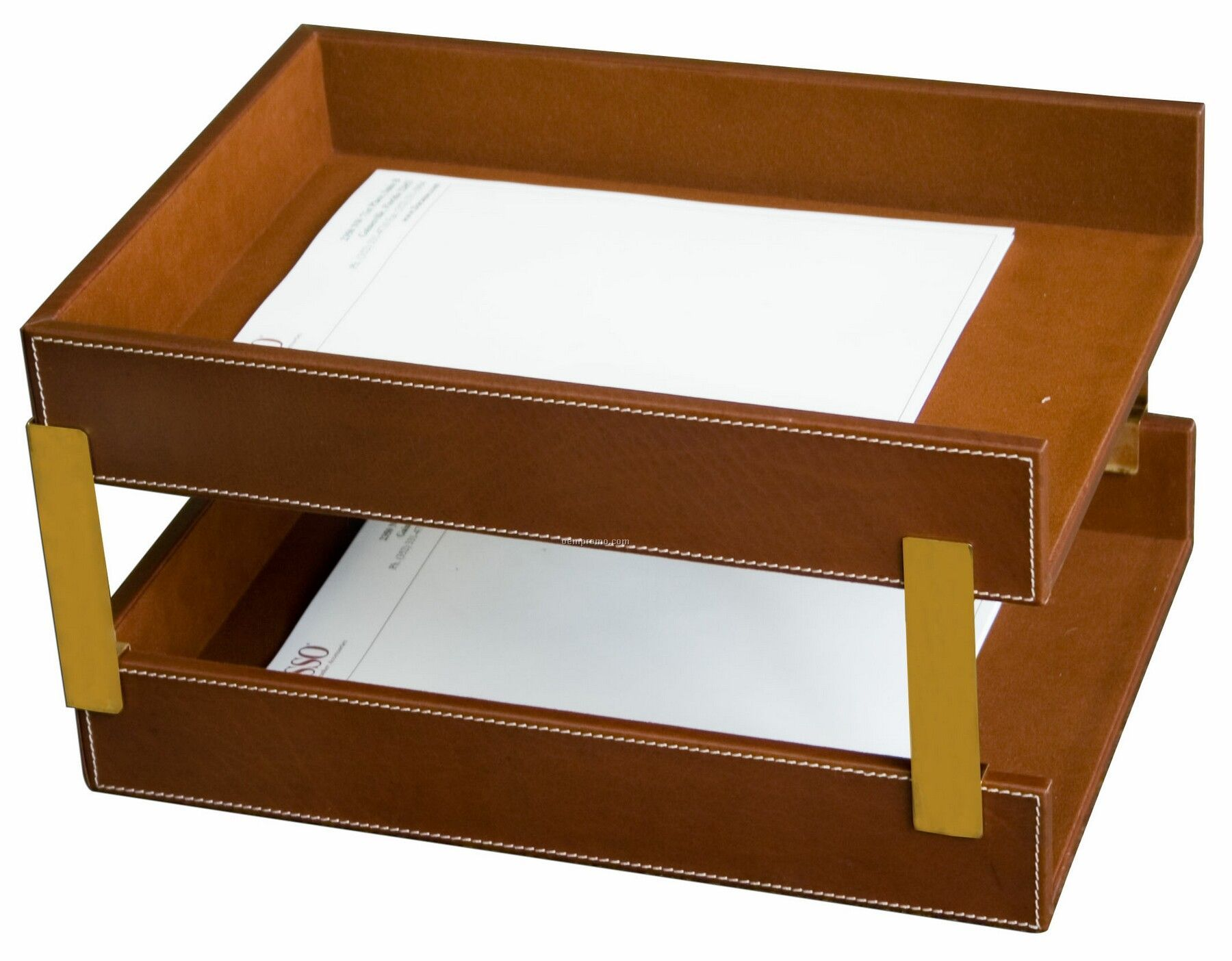 Brown Rustic Leather Double Front-load Tray (Letter Size)