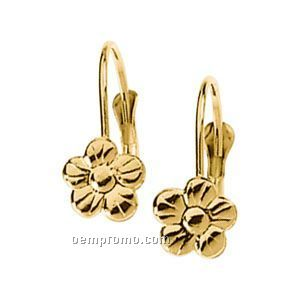 Ladies' 14ky 13x9-1/2 Flower Lever Back Earring