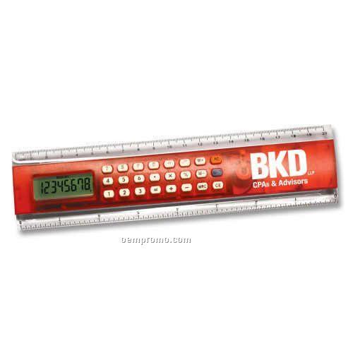 """8"""" Calculator Ruler In Red"""