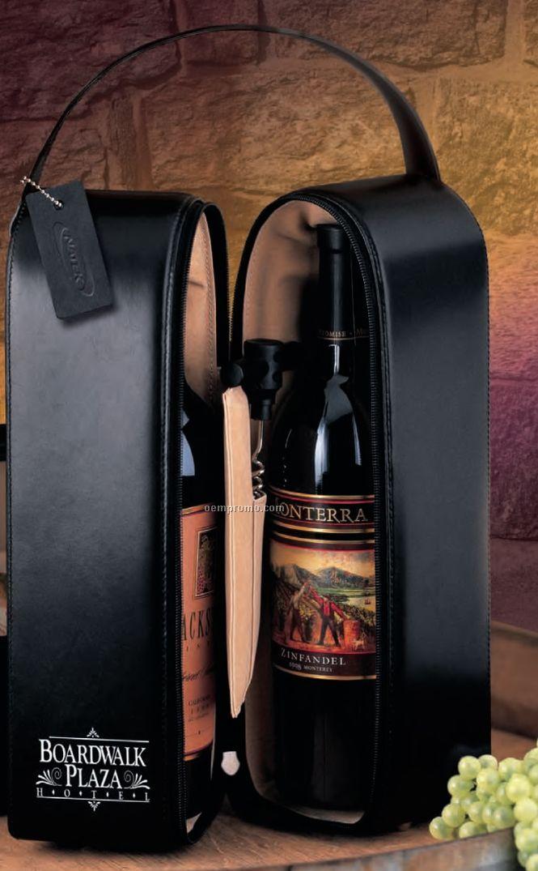 Upper West Side Leather Double Bottle Wine Case Traveler W/ Corkscrew