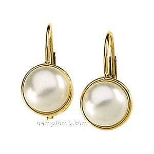 Ladies' 14ky 6-1/2mm Freshwater Cultured Pearl Lever Back Earring