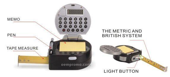 Calculator& Measuring Tape With Pen