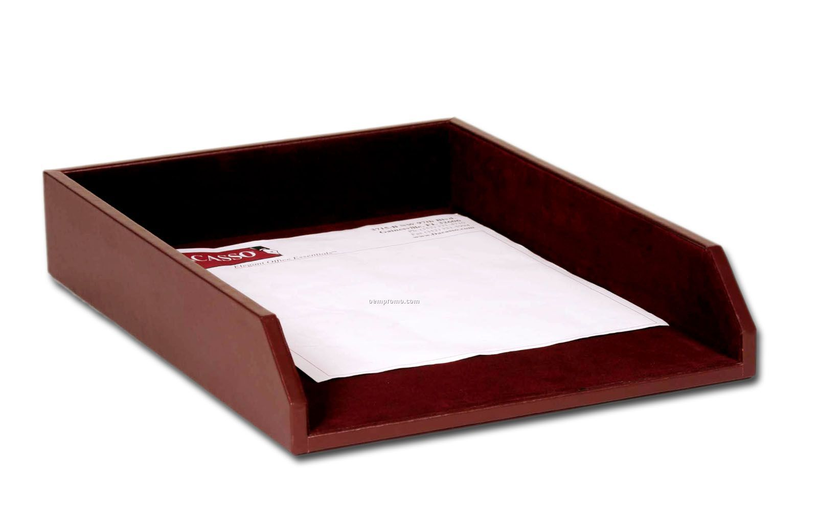 Chocolate brown classic leather front load letter tray for Legal letter tray