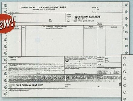 Continuous Bill Of Lading (3 Part)