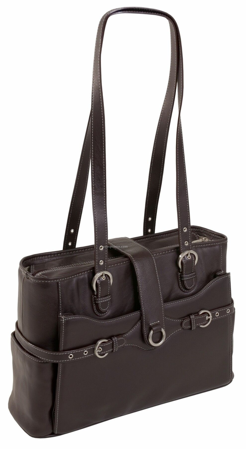 Fratti Leather Laptop Tote - Chocolate Brown
