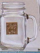 16 Oz. Customized Jar Mug With Pewter Medallion