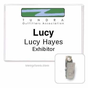 "Classic Side Loading Rigid Vinyl Name Tag Holder W/ Clip - Blank (4""X3"")"