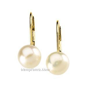 Ladies' 14ky 6 To 6-1/2mm Freshwater Cultured Pearl Lever Back Earring