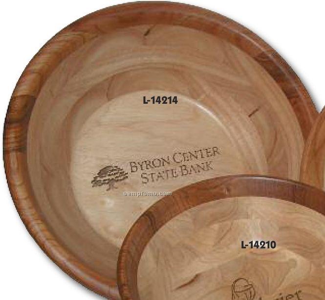 "Large Cherry Wood Bowl /14""X5"""