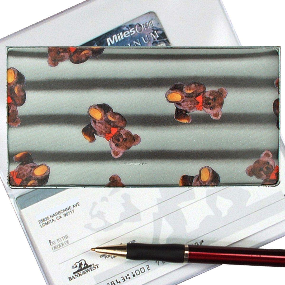 3d Lenticular Checkbook Cover (Teddy Bear Stripes)