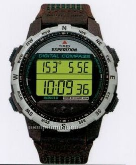 Timex Expedition Digital Compass Bright Green Dial W/ Leather Strap