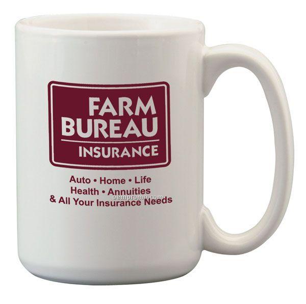 15 Oz. El Grande Ceramic Coffee Mug - White