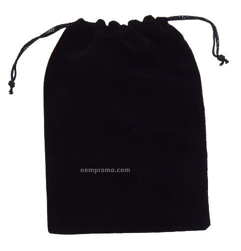 """6"""" X 9"""" Black Velveteen Pouch With Drawstring."""
