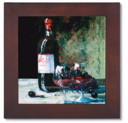 Ceramic Trivet With Wine Bottle & 2 Glass Art Image