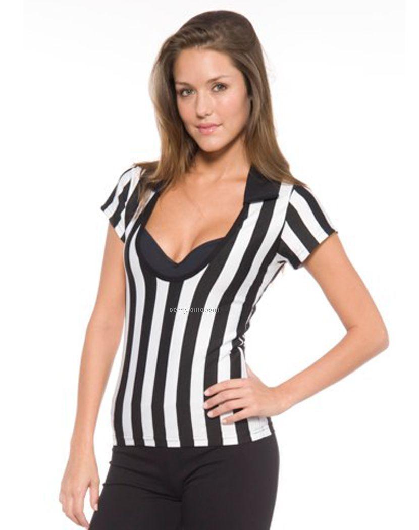 Womenu0026#39;s Deep Scoop Referee ShirtChina Wholesale Womenu0026#39;s Deep Scoop Referee Shirt