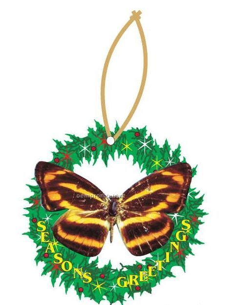 Brown & Yellow Butterfly Wreath Ornament W/ Mirrored Back (8 Square Inch)