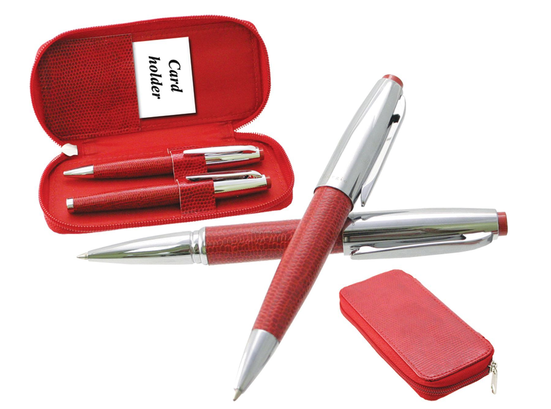 Red Leather & Silver Ball Point & Roller Ball Set