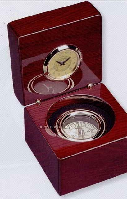 Compass Clock W/ Rosewood Finish Case