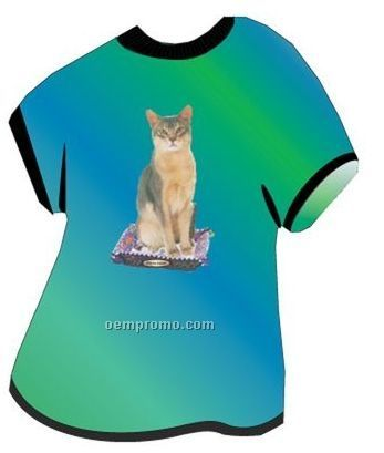 Abyssinian Cat T Shirt Acrylic Coaster W/ Felt Back