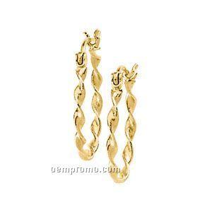 Ladies' 14ky 20mm Twisted Tube Hoop Earring