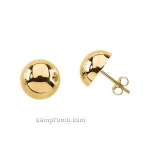 Ladies' 14ky 12mm Half Ball Earring
