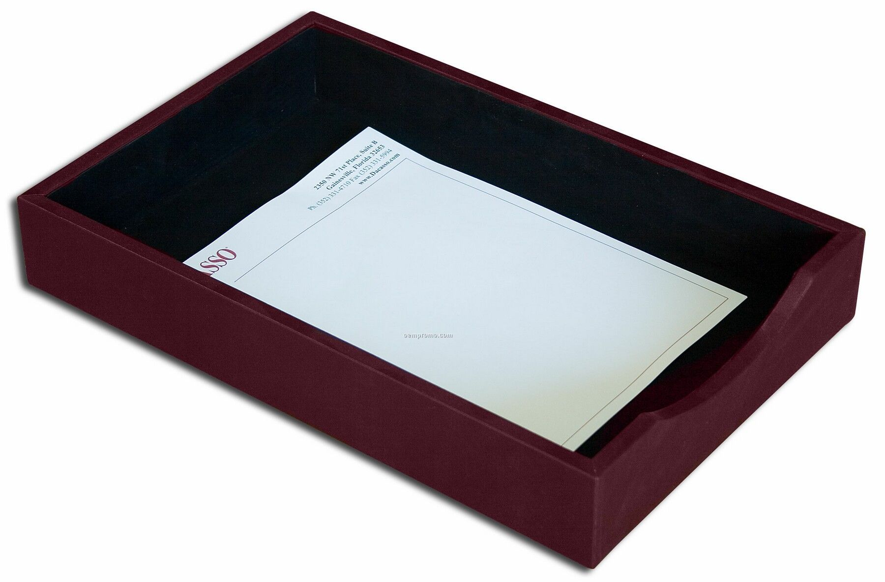 Burgundy gold striped leather front load letter trays for Legal letter tray