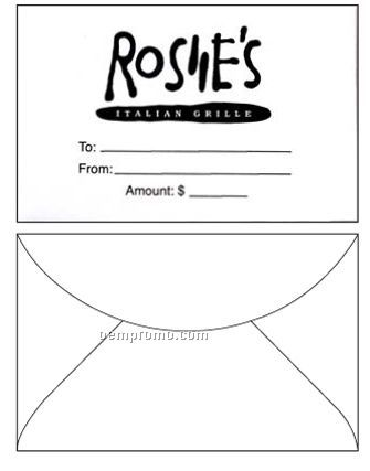 "Custom Printed Gift Card Envelopes (2 5/16""X3 5/8"")"