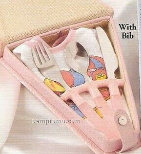 Stainless Steel Pink Baby Cutlery Sets W/ Bib