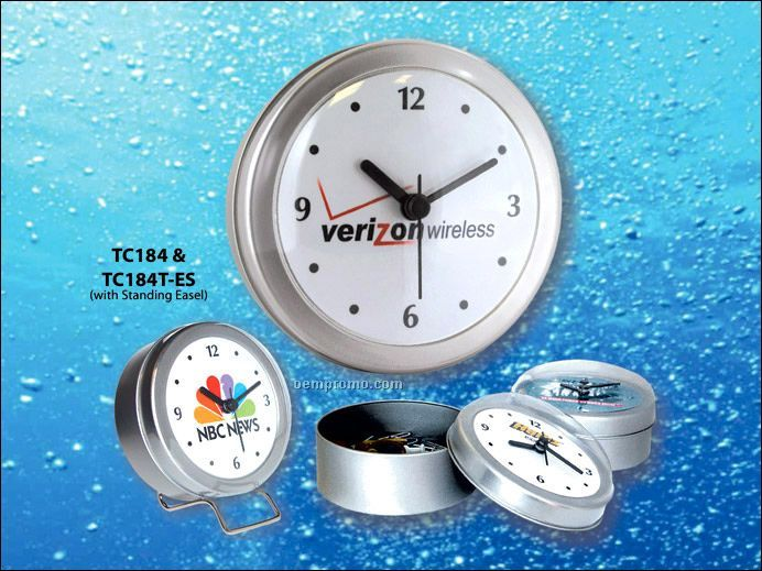 """4"""" Round Canister Clock With Full-color Dial"""