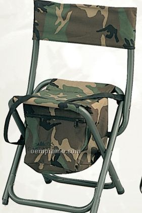 Deluxe Woodland Camouflage Folding Chair With Pouch