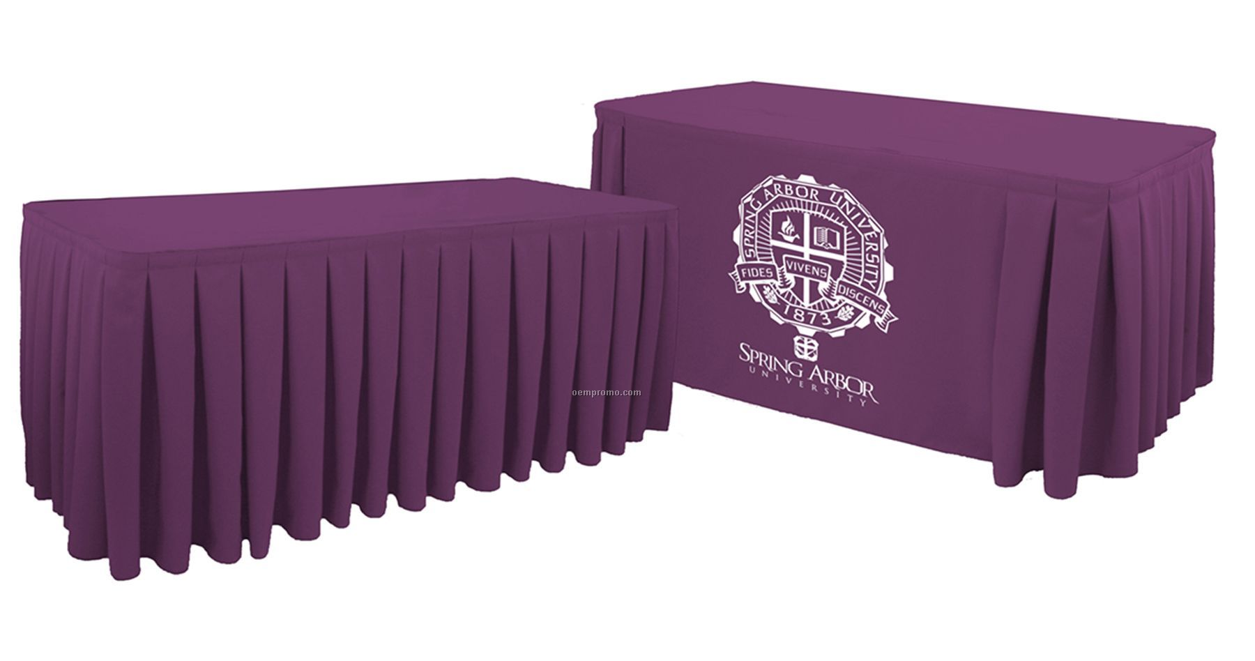 Digitally Printed 15' Box Pleat Table Skirt W/ Open Back - Fits 8ft Table