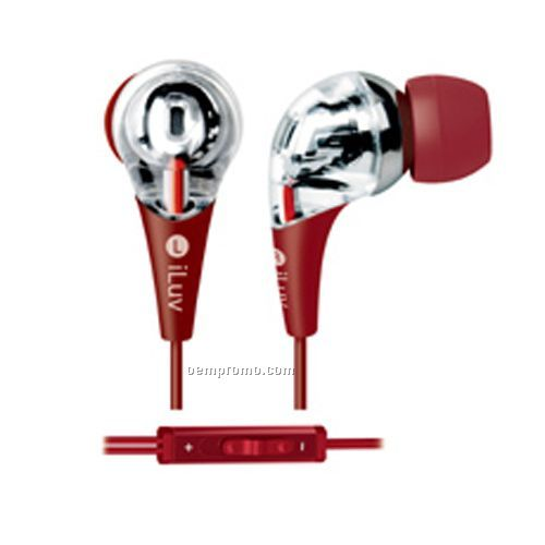Iluv - Headphones / Earphones Premium Earphone With Volume Control - Red