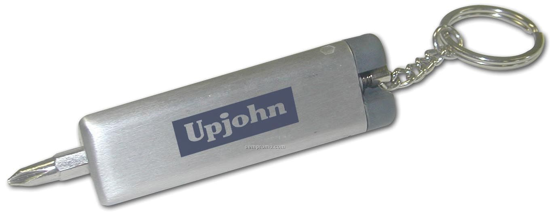 Metallic Keychain W/ Interchangeable Screwdrivers