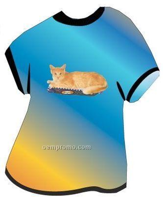 Angora Cat T Shirt Acrylic Coaster W/ Felt Back