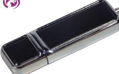 Leather Trim Rectangle Shape Flash Memory Drive