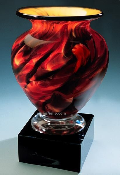 "Swirling Embers Cauldron Vase W/ Marble Base (4.5""X7.5"")"