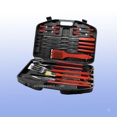 18 Pcs Bbq Set W/Carrying Case