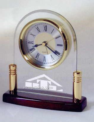 """Glass Arch Alarm Clock With Piano Wood Finish Base (5-3/4""""X6-1/2""""X2-1/4"""")"""