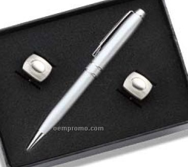 Rounded W/ Dimple Cufflinks & Pen Set