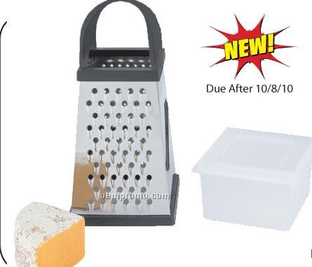 Chef Secret Jumbo 4-sided Stainless Steel Grater W/ Storage Container
