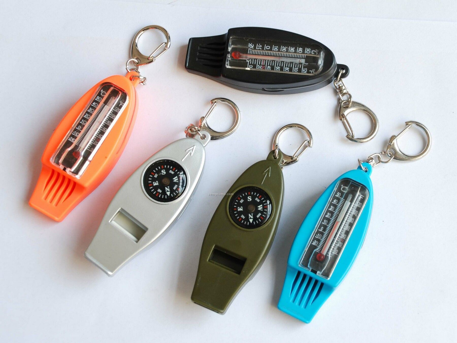 4 In 1 Survival Tool - Thermometer / Whistle / Compass / Key Chain