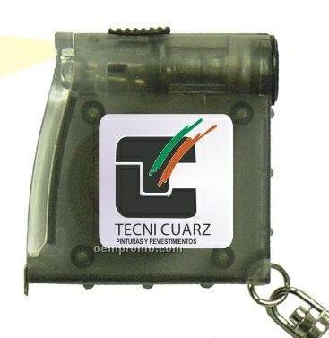 3' Translucent Tape Measure Key Chain W/LED Light