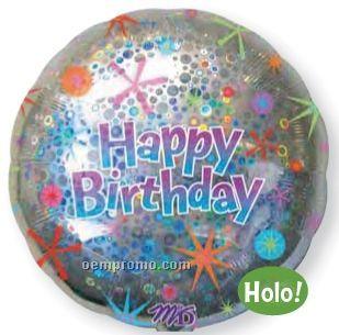 "36"" Holographic Circle Happy Birthday Balloon"