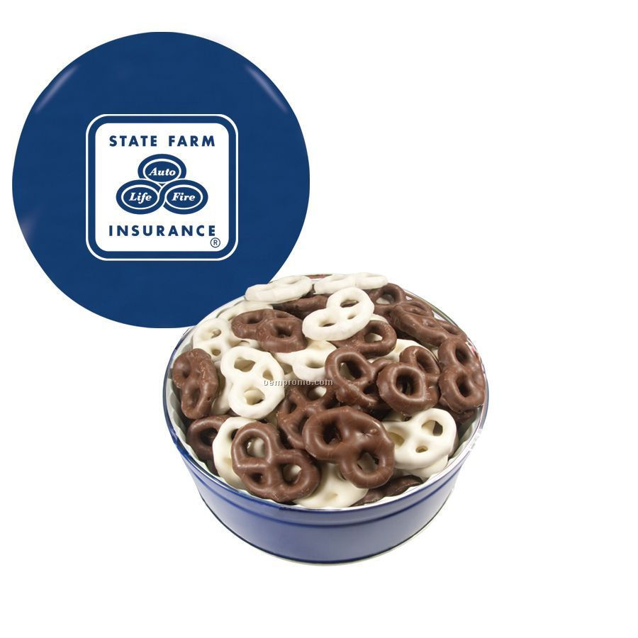 Blue The Grand Tin With Chocolate Covered Mini Pretzels