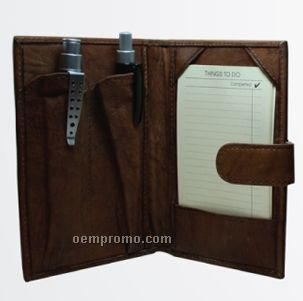 """Dark Brown Cowhide Mini Note 3""""X5"""" To Do Pad Jotter"""