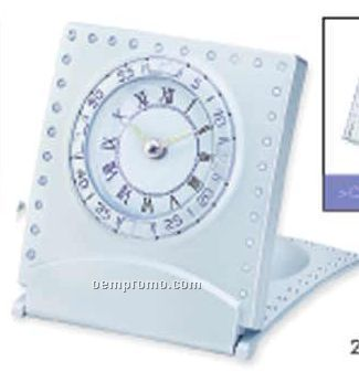 "Flip Cover Travel Alarm Clock W/ Dual Dial (2 7/8""X3 1/4"")"