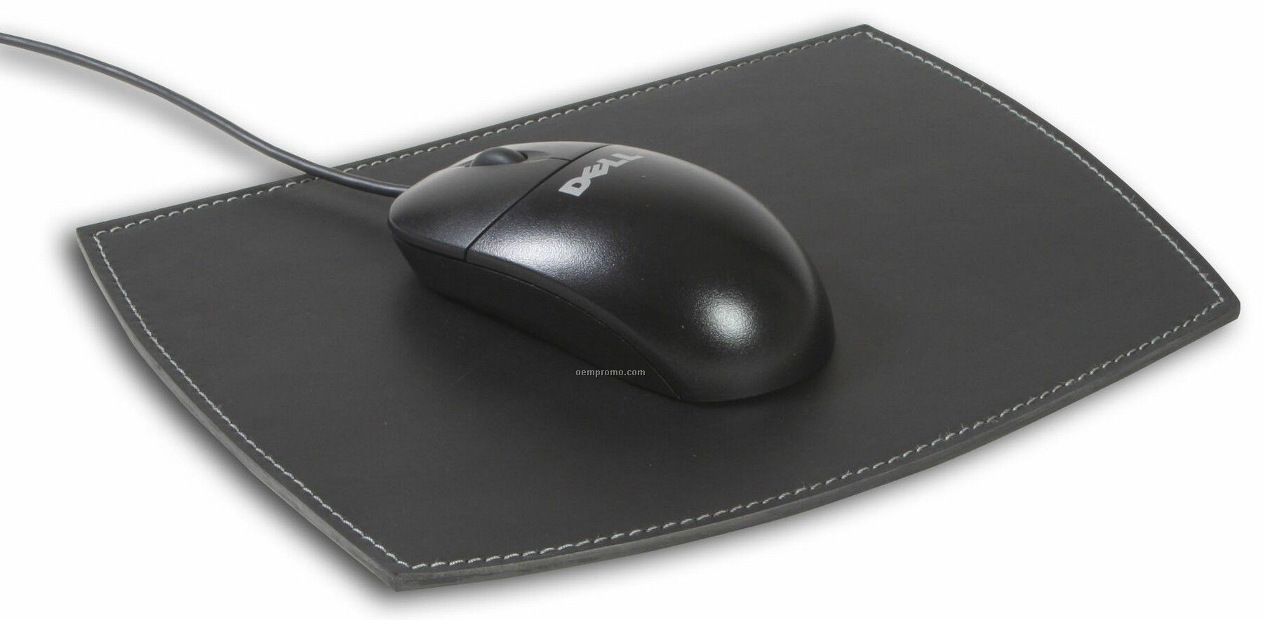 Rustic Black Leather Mouse Pad